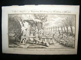 Agriculture C1760 Antique Print. Water Breaking & Heckling Hemp